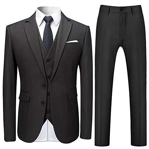 3 Stück Anzug (Allthemen Herren Slim Fit 3 Teilig Anzug Modern Sakko für Business Hochzeit Party Hochzeit Grau X-Large)