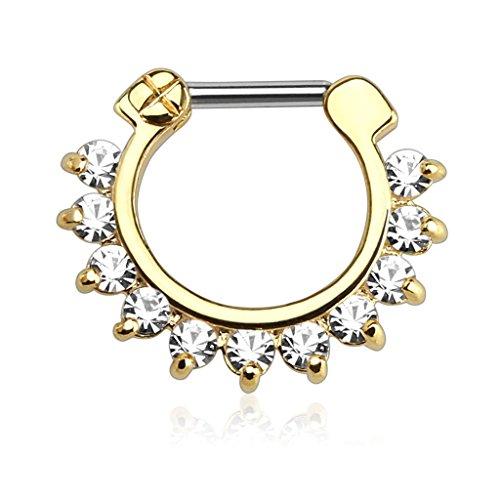 Piercingfaktor Universal Piercing Septum auch für Tragus Helix Ohr Nase Lippe Brust Intim - Schild Clicker Ring Vintage mit Strass Vergoldet 1,2mm Gold
