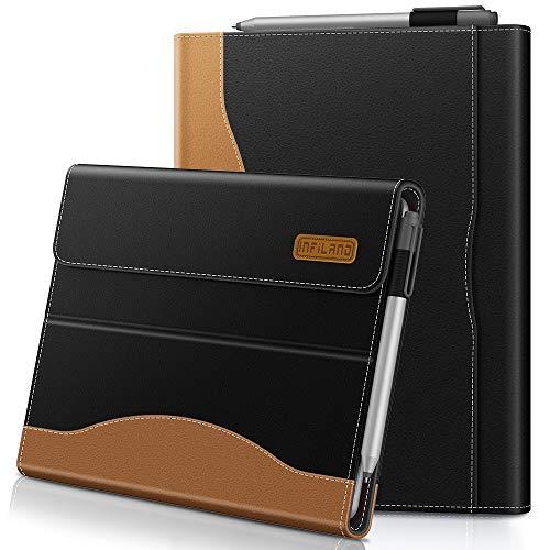 Infiland Microsoft Surface Go Hülle,PU-Lederne Vordere Unterstützung Schutzhülle Cover Tasche (Tablet,Tastatur und Bleistift Sind Nicht Enthalten),Schwarz