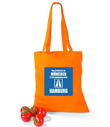 Artdiktat Baumwolltasche Das Schönste an München ist die Autobahn nach Hamburg surfblue orange