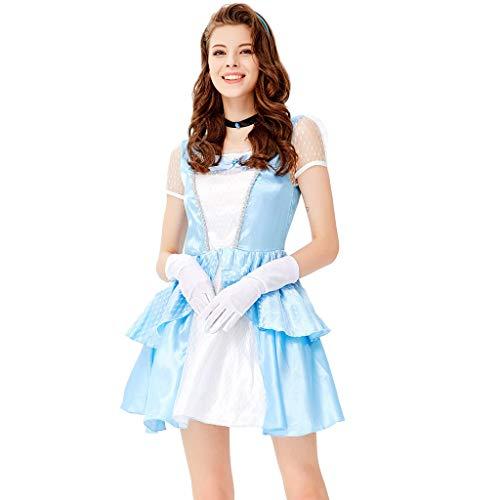 ZEZKT Minikleid Sexy Kurz, Kostüme Halloween Damen, Prinzessin Abendkleid Kurzarm, Partykleider Damen Allerheiligen Kleidung, Elegant Uniform Cosplay Weiß Kostüm (Allerheiligen Kostüm Mädchen)