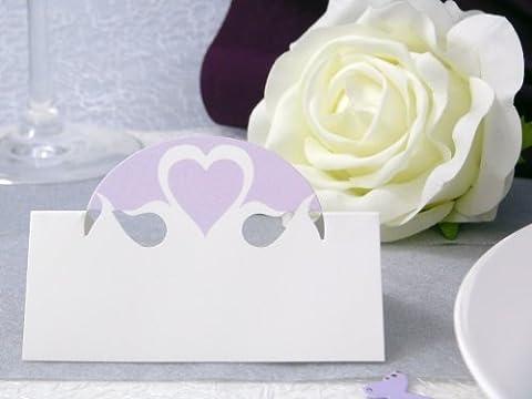 10x Tischkarten Hochzeit EinsSein® Herz Dame flieder Hochzeit, Tischkarten, Platzkarten, Namenskarten, Herz Schmetterling Stuhl Rosen Ringe