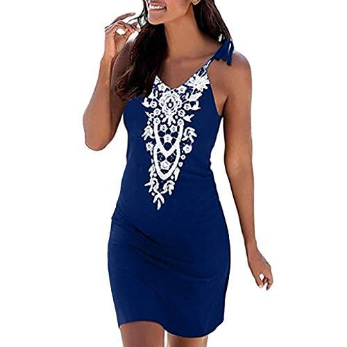 Damen Print Sling Minirock Kleid YunYoud Ärmelloses Retro Mini Strandkleid sommer kurz strand kleid jumpsuit elegant kleid für damen, Blau 1, M
