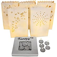 Pack de 50 Linternas de Papel Blanco Diseño Estrella, Corazón, Puntos, Estrella y Luna y Mariposa con 50 Velas de Té por Kurtzy - Decoración Centro de Mesa para Bodas y Cumpleaños- Resistente al Fuego
