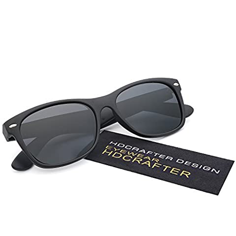 HDCRAFTER Classic Small Retro Wayfarer Unisex Polarized Sunglasses Mirror
