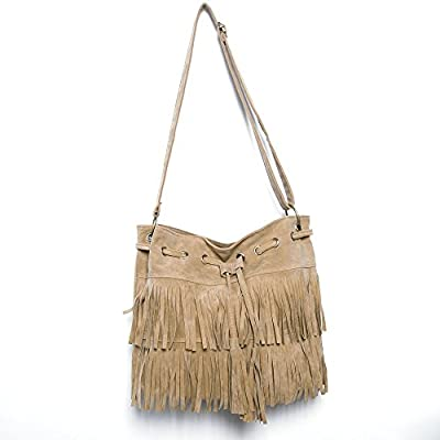 THG Fashonable Oval Fringe bolso de hombro de los bolsos con flecos Bolsa para dama Gril Oficina Mujer (Negro albaricoque cafšŠ)