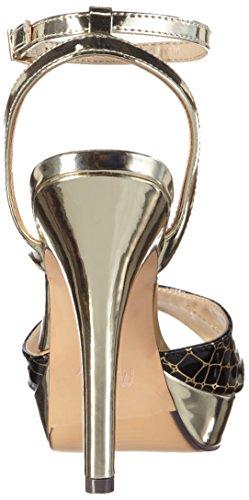 MENBUR - Olmo, Scarpe col tacco con cinturino a T Donna Multicolore (Mehrfarbig (Schwarz/Gold))