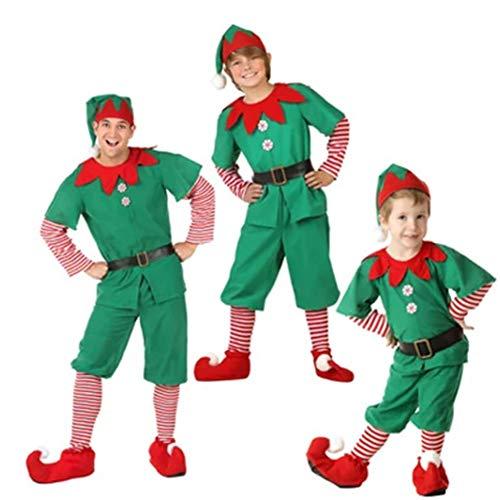 QLING Weihnachts-Elf-Kostüm für Erwachsene, Kinder, Damen, Herren, Elfkleid, Herren, Oberteil und Hose, Socken, Gürtel und Hut, Weihnachten, Party, Kostüm, Mehrgröße, Rot und Grün, Man, 110 cm