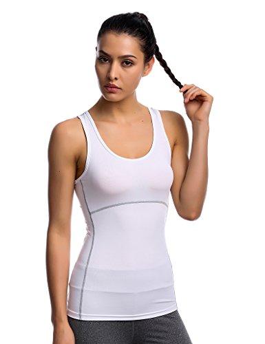 JIMMY DESIGN Damen Top Sportunterhemd Slim Fit - Ohne Arm - Weiß - L