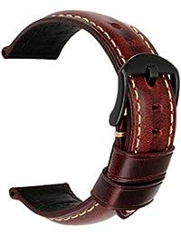 MAIKES Bracelet Montre en Cuir, 20mm 22mm 24mm 26mm Watch Band Strap pour Femme & Homme Livré avec Pompes et Outil pour Le Remplacement (Band Width 22mm, Red+Black Clasp)
