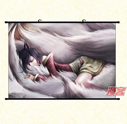 Wallscrolls-Wonderland LOL Ahri Stoffposter Plakat Tapete Rollbild Dekoration Geschenk AP Mid Champion Home Decoration Wall Design Wallscroll 60x40CM
