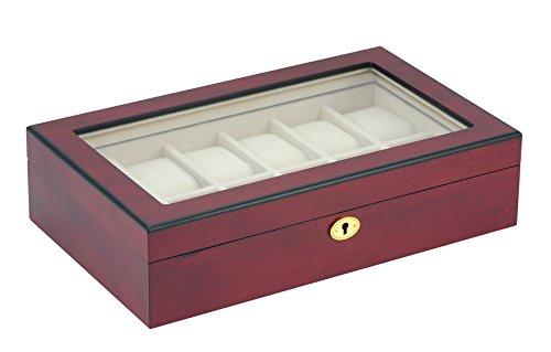 Uhrenbox Holz Für 12 Uhren Sichtfenster Echtglas Uhrenvitrine Uhrenschatulle