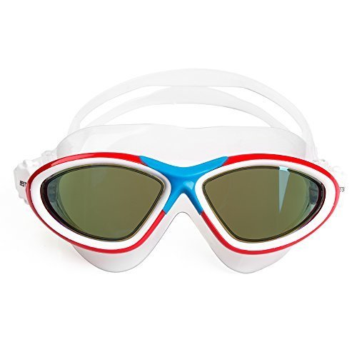 BESTEK Goggles Large Frame Waterproof Anti-Fog UV-Resistance Comfort fit Easy Clip Crystal Vision Glasses Swimming Competitive Racing Dives for All Adults, Women and Men Schwimmbrille, weiß, Nicht zutreffend