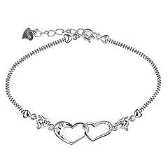 Idea Regalo - B.Catcher donna braccialetto in argento S925 e zirconi placca con due cuori intrecciati
