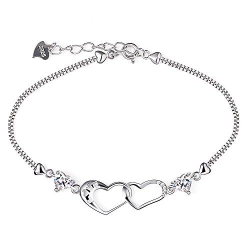 B.Catcher Armband Damen Herz 925 Silber Schmuck Doppelt Herz Liebe I Love you Set Handgefertigt Einstellbar mit Geschenk Box(16.2+3.7cm)