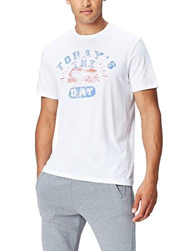 find. Schlafshirt Herren aus Baumwoll-Jersey Slogan-Print , Weiß (White), 50 (Herstellergröße: Medium)