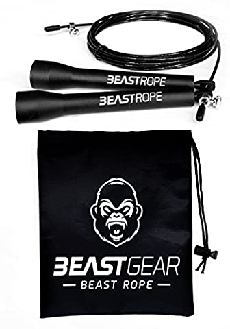 Speed Skipping Rope by Beast Gear - Crossfit, Boxing, MMA. Adjustable Length Cable with Lightweight, Strong Ball Bearing Mechanism - Ideal for Double Unders
