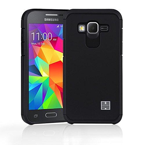 32nd Slim Armure Series - Coque Impact Slim Armure Antichoc pour Samsung Galaxy Core Prime, Housse de Protection Technologie de Coussin dair aux Bords - Noir