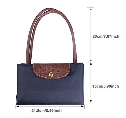 ZeWoo Nylon Tote Bag per le Donne,Handbag a Spalla,Borsa di modo Borsa della spesa Impermeabile borsa a tracolla (Blu scuro) Blu Scuro