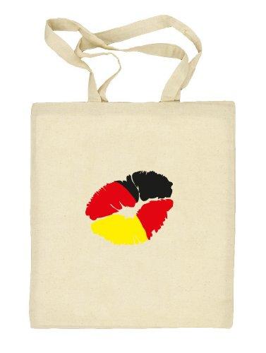 Shirtstreet24, EM/WM 12 - Kussmund Deutschland, Fußball Natur Stoffbeutel Jute Tasche (ONE SIZE) Natur