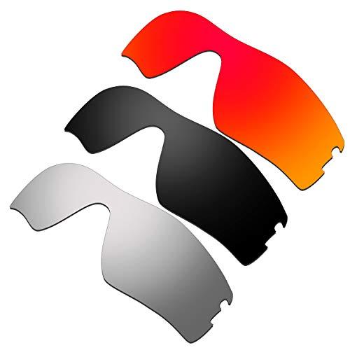 HKUCO Ersatz-Brillengläser für Oakley Radar Pitch Rot/Schwarz/Titan Sonnenbrille
