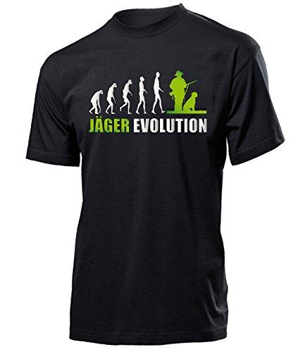 Jäger Evolution 4606 Förster t Shirt Fun Männer Herren Geschenke Ideen für Artikel ausrüstung kostüm Jägerei Kleidung Schwarz Aufdruck Grün M
