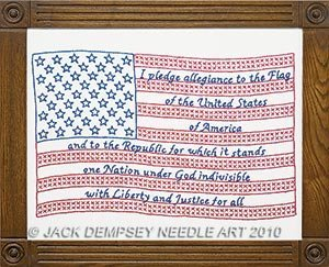 Jack Dempsey Stamped White Sampler 11X14-Flag by