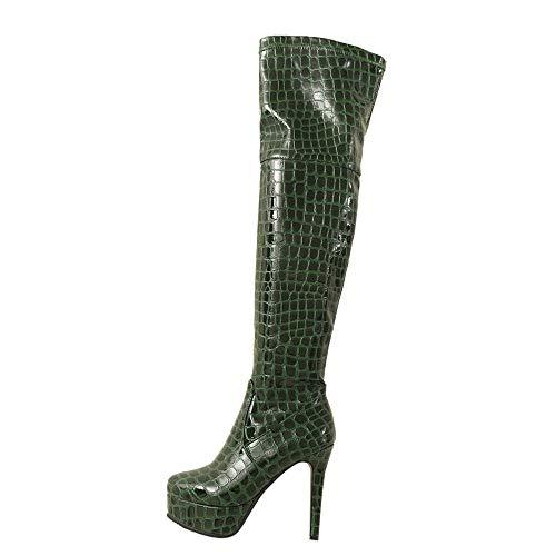 MYMYG Frauen Stiefeletten High Heels Stiefel Damenmode Snakeskin Print Schuh Lackleder Runde Zehe Feine Ferse Lange Stiefel Warme Plüsch...