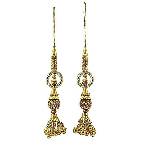 Dekorative Perlen Salwar Kameez Mode Latkans Goldquasten Handwerk Nähen 1 Paar