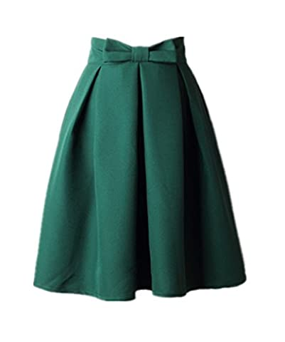 Uideazone Fashion Ladies Pleated Skirt High Waisted Skater Zipper Skirts