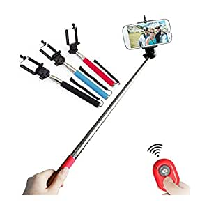 Hello-6 Global Selfie Stick with an Universal Phone Holder and Wireless Remote Shutter works via a Free Application auto bluetooth sync via App . Feature to Toggle Between Front & Back Camera with a Click of a Button on the Remote (color may vary ) for SAMSUNG I9506 GALAXY S4 PHONES