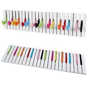 Design Wandgarderobe Kleiderhaken Hakenleiste 16 Haken Klavier Garderobe bunt Piano NEU