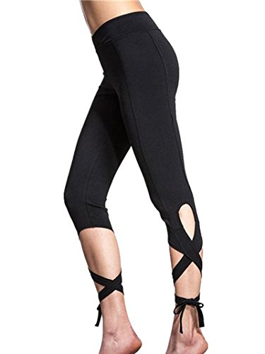 ZARU ♥♥♥Mujeres Leggings Yoga de alta cintura raya patchwork pantalones flacos♥Spandex♥♥ (M)