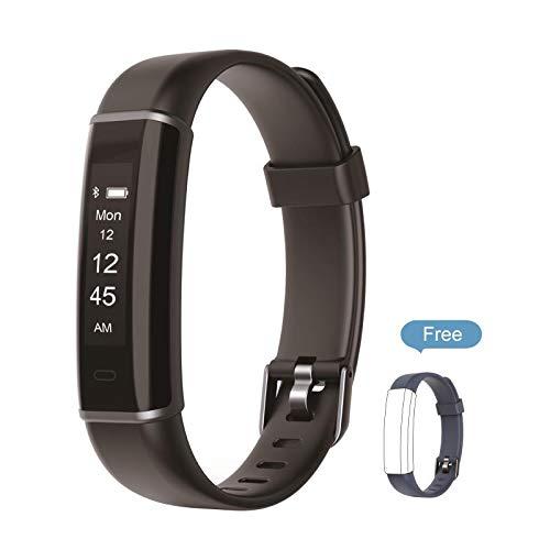 Kingsky Fitnesstracker Smart-Armband Aktivitätstracker Sportschrittzähler mit Schlafüberwachung Wecker und Kalorienzähler für Android und iOS (Schwarz)