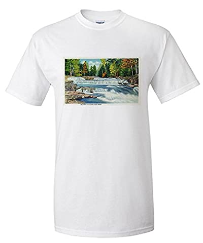 New Hampshire - View of the Wild Cat River and Jackson Falls (Premium T-Shirt)