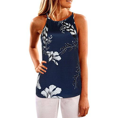 Casual Blouse Vest T Shirt Valentine's Day Gift Present Womens Sleeveless Flower Printed Tank Tops