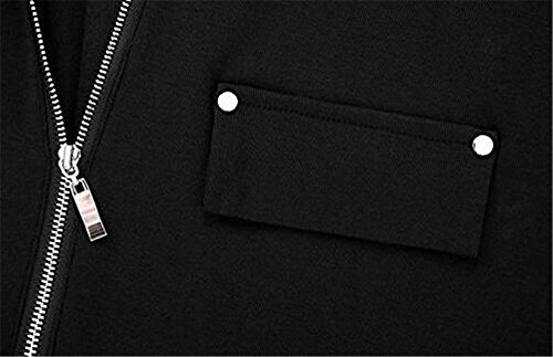 Gogofuture Mode Femme Tee Shirt Manche Longue Zippé Basique Slim Fit Classic Top Blouse Fashion Couleur Unie Black