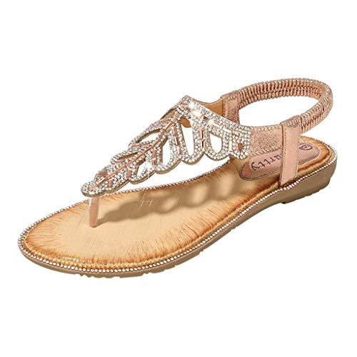 HILOTU Frauen Sommer Boho Sandalen Gummiband Strass Perlen Flip Flop Wohnungen Mode Retro Vielseitige Schuhe (Color : Rosa, Size : 40 EU)