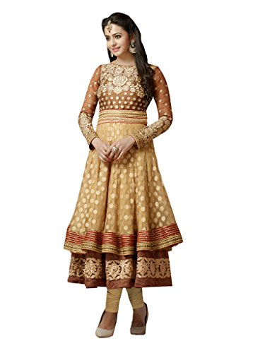 Anarkali (Vaikunth Fabrics Dark Beige & Brown Color Georgette With Net Anarkali Suit )  available at amazon for Rs.3299