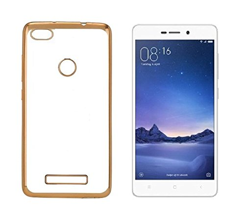 super cute 433e9 f7703 Chevron Back Case Cover for Redmi 3S Prime (Transparent/Gold Border)  [Electroplated Dual Tone Transparent Perfect Fit] Buy Chevron Back Case  Cover for ...