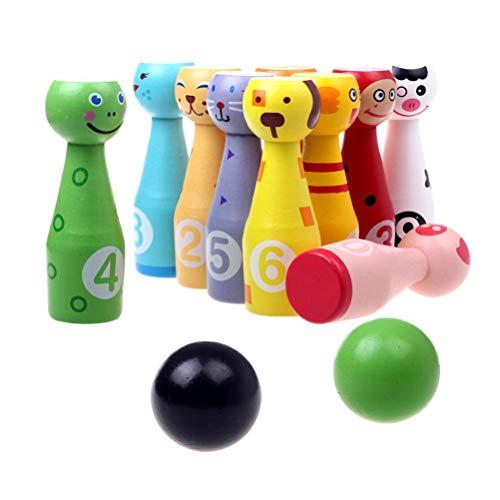 NUOBESTY Kreative Cartoon Tiere Bowling Set Kinder Hands-on Intellektuelle Entwicklung Spielzeug für Kinder