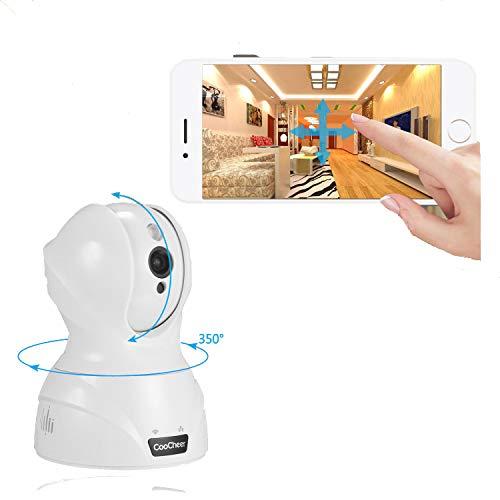 WLAN Kamera HD WiFi Baby Monitor, Indoor 720P Schwenkbare Heim IP Überwachungskamera mit IR-Nachtsicht, Bewegungserkennung, Eingebautes Mikrofon und Micro SD-Karte-Steckplatz, Weiß (Mikrofon Mit Webcam Apple)