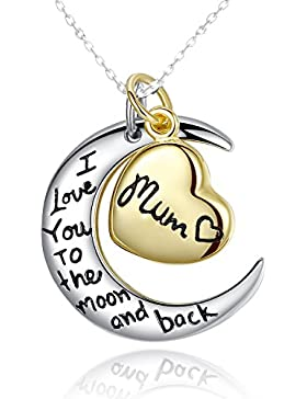 Sterling Silber: Anhänger Ich liebe dich bis zum Mond und zurück mit Halskette - Geschenk für die Mama