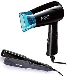 Nova Nht-8100/05 Hair Dryer + 860 Hair Starightner Combo Kit (Black)