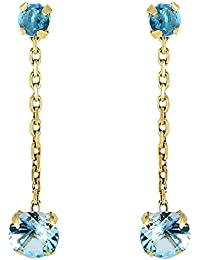 Tous mes bijoux Mujer  9 k (375)  Oro, amarillo    azul topacio FINEEARRING