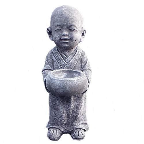 Steinfigur Mönch Priester Buddha massiver Steinguss Gartenfigur frostfest 40 cm