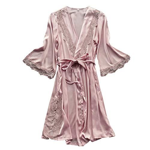 Kimono Larga Bata Sexy Mujer Pijama Verano de Talla Grande Vestido de Cama Conjunto de Una Pieza Ropa...