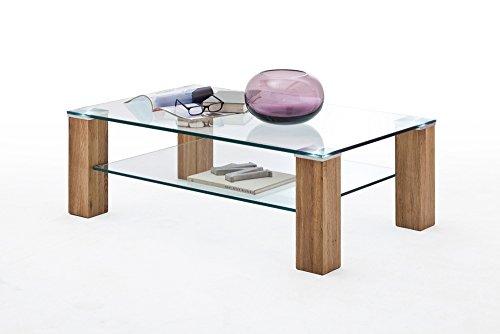 Couchtisch, Tisch, Wohnzimmertisch, Salontisch, Sofatisch, Kaffeetisch, Massivholztisch, massive Asteiche, Glas, Ablage, B/H/T ca. 110/40/70 cm