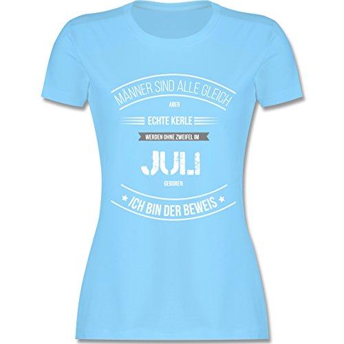 Shirtracer Geburtstag - Echte Kerle Werden IM Juli Geboren - Damen T-Shirt Rundhals Hellblau