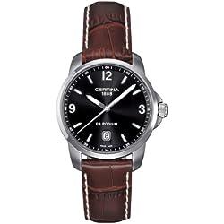 Certina C001.410.16.057.00 DS Podium - Reloj Analógico de Cuarzo para Hombre, Correa de Cuero Marrón